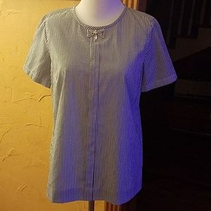 J. Crew Blue & White Striped blouse Rhinestone bow